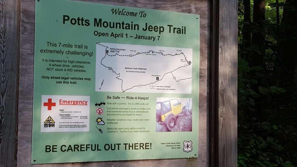 Potts Mountain Jeep Trail April 27th, 2019